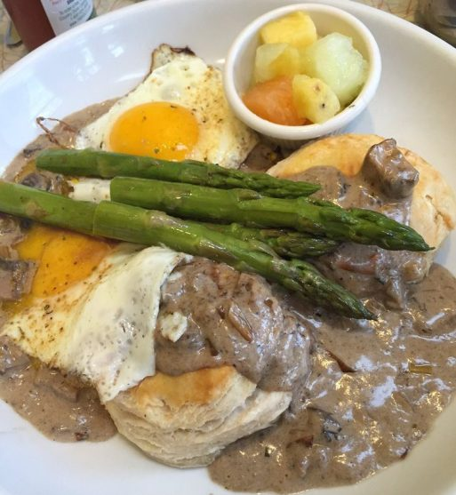 goats cheese biscuit with mush gravy, asparagus and eggs