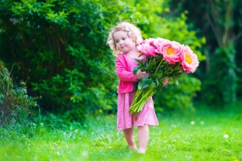 Little cute girl with peony flowers. Child wearing a pink dress playing in a summer garden. Kids gardening. Children play outdoors. Toddler kid with flower bouquet for birthday or mother's day.