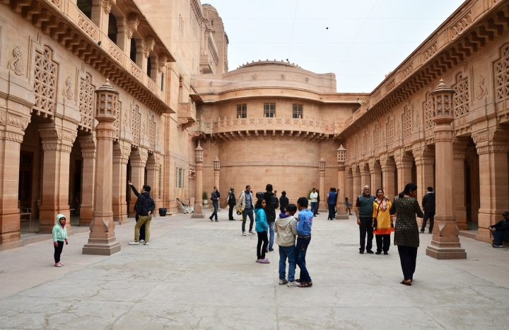 Jodhpur India - January 1 2015: Tourist visit Umaid Bhawan Palace on January 1 2015 Umaid Bhawan located at Jodhpur in Rajasthan India is one of the world's largest private residences.